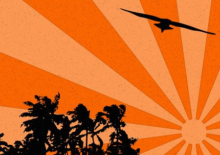 A palms and seagull silhouette, grunge style