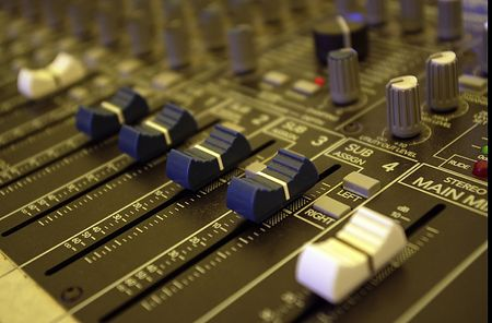 A close up of a mixer desk photo