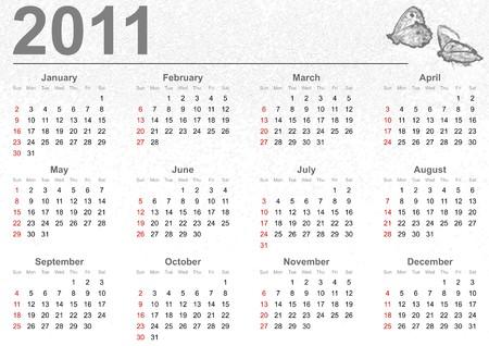 Full 2011 calendar with butterflies Stock Photo