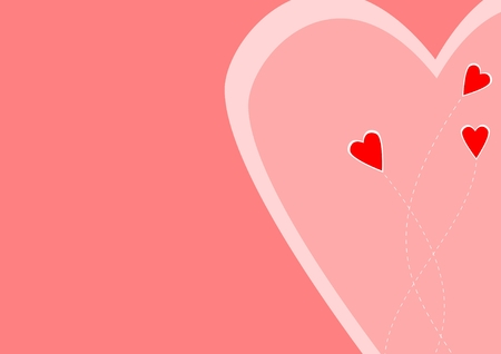 Red hearts on pink background Illustration