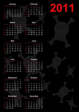 Full 2011 calendar with skulls - Comic style