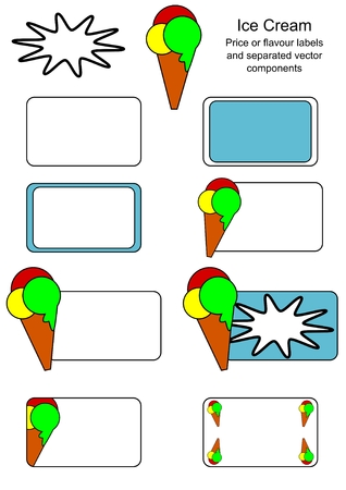 Ice Cream labels for price or flavour description and separated vecor components Vector