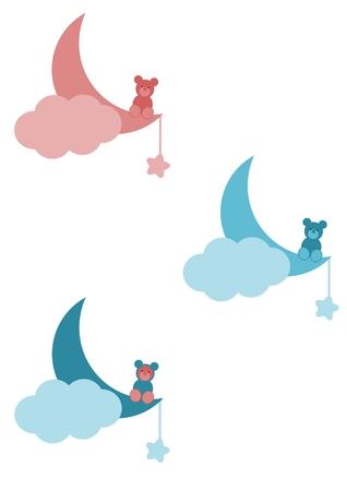 Little bear sitting on the moon - Three versions