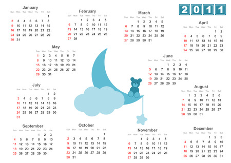 Full 2011 calendar with fLittle bear sitting on the moon - Blue versions