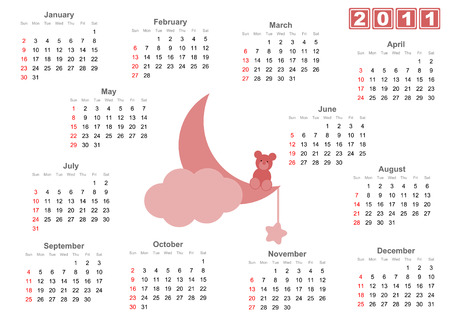 Full 2011 calendar with fLittle bear sitting on the moon - Pink versions