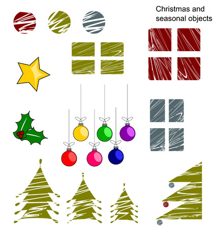 A set of Christmas and seasonal objects Illustration