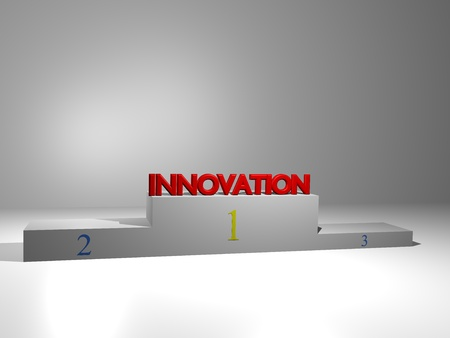 3D podium on white background with motivational slogan photo
