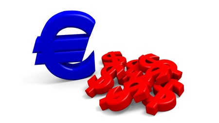Computer generated image of USD vs Euro concept photo