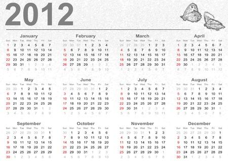 Full 2012 calendar with butterflies  Stock Photo