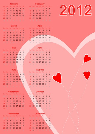 Full 2012 calendar with red hearts