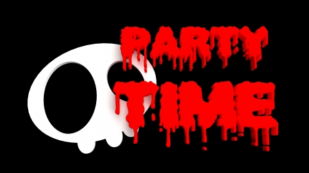 Halloween invitation graphic with bloody text and kawaii skull