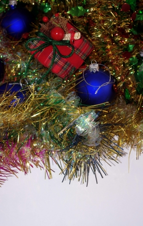 Christmas decoration with blue balls and gift Stock Photo