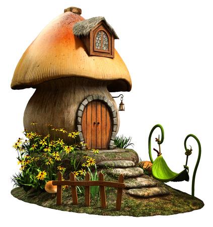 Fairy mushroom house Standard-Bild