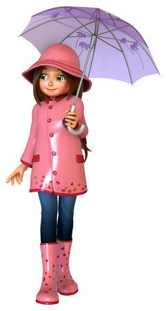 cute girl: Cute girl with umbrella