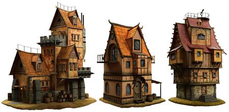 Fantasy buildings illustration Banco de Imagens - 86231197
