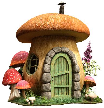 Mushroom house illustration Standard-Bild