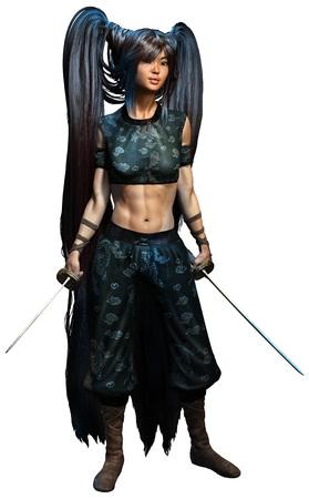 Samurai woman illustration