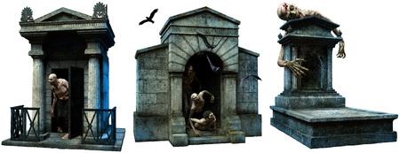 Cryptes et pierre tombale avec des zombies Banque d'images - 87658405