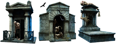 Crypts and gravestone with zombies