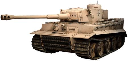 Tiger tank in desert camoflage Stock Photo