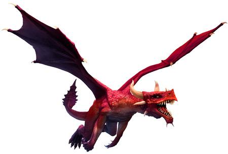 Red dragon 3D illustration Stok Fotoğraf