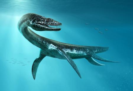 Illustration 3D de scène de plésiosaure