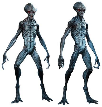 Grey aliens 3D illustration Фото со стока