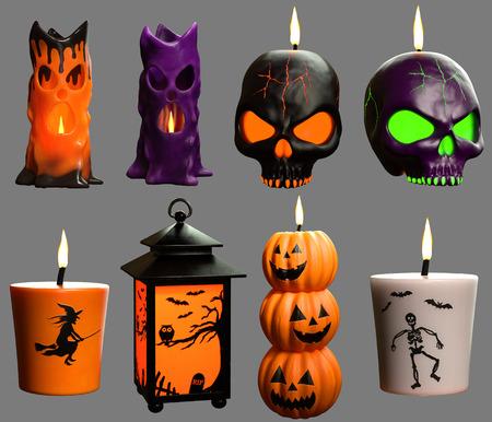 Halloween candles 3D illustration Stock Photo