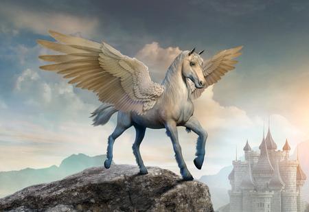 Pegasus scene 3D illustration