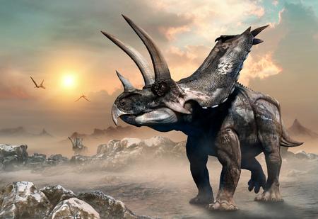 Agujaceratops scene 3D illustration