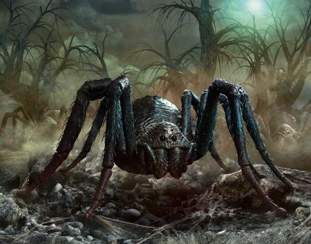Giant spider scene 3D illustration