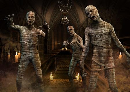 Ilustración 3D de la escena de las momias