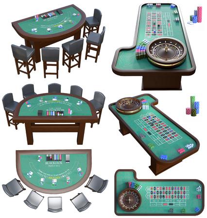 Casino tables 3D renderings 写真素材