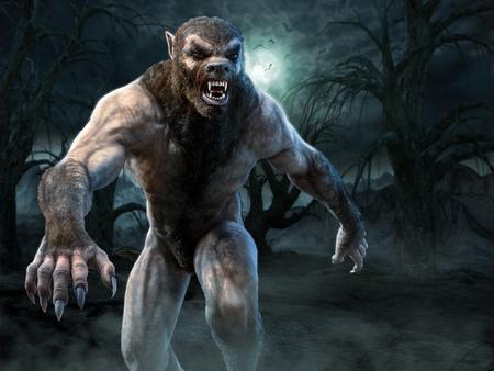 Werwolf-Szene 3D-Darstellung Standard-Bild