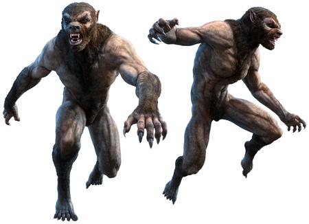 Werewolves 3D illustration Stock Photo
