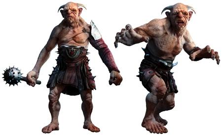 Trolls , ogres or giants 3D illustration