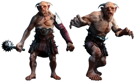 Trolls , ogres or giants 3D illustration
