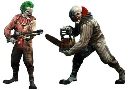 Killer clowns 3D illustration Foto de archivo