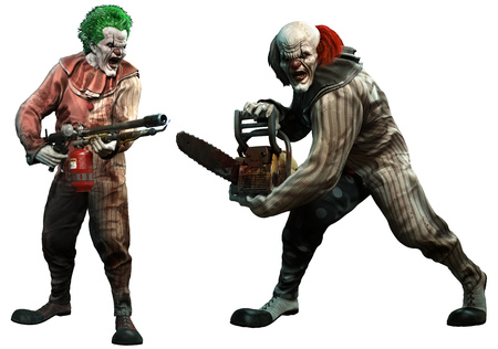 Killer clowns 3D illustration Stock Photo