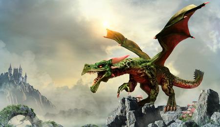 Green dragon scene 3D illustration