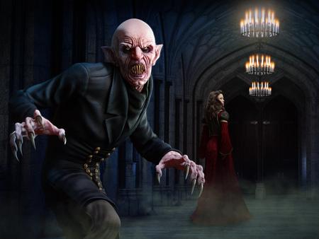 Vampire scene 3D illustration Stock Photo