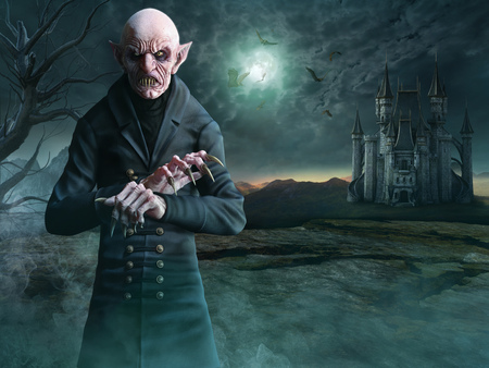Vampire scene 3D illustration Stock Photo