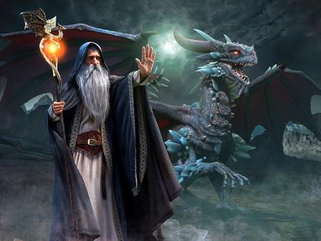Illustration 3d de scène de magicien et de dragon Banque d'images