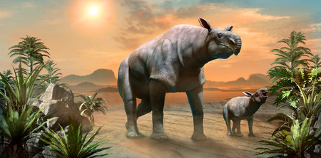 Paraceratherium with calf scene 3D illustration