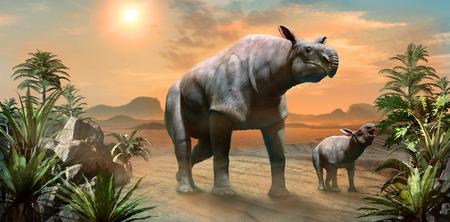 Paraceratherium with calf scene 3D illustration