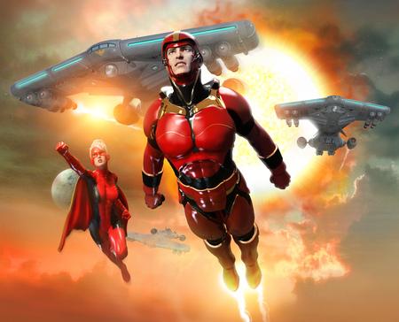 super heroes scene 3D illustration