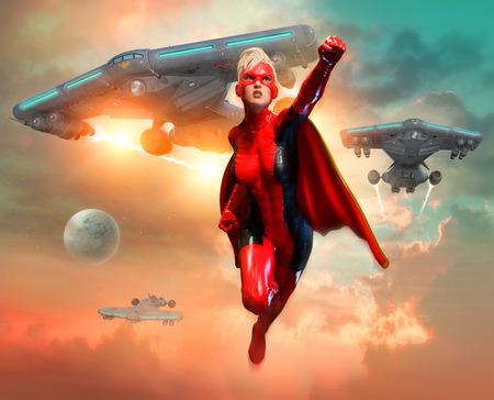 super heroine scene 3D illustration 写真素材