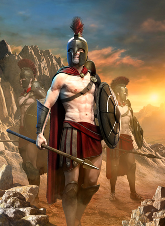 Spartan warrior scene 3D illustration