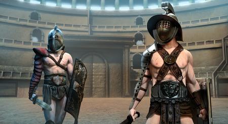 Gladiator arena scene 3D illustration