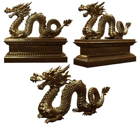 Golden dragon statues 3D renderings 写真素材